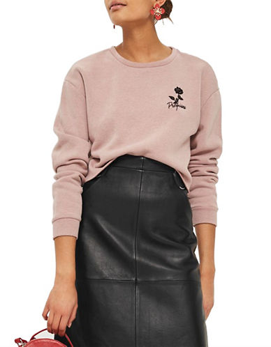 Topshop Promises Crop Sweat-NUDE-UK 8/US 4
