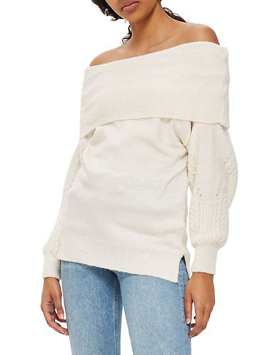 Topshop Cable-Sleeved Bardot Sweater-OATMEAL-UK 6/US 2