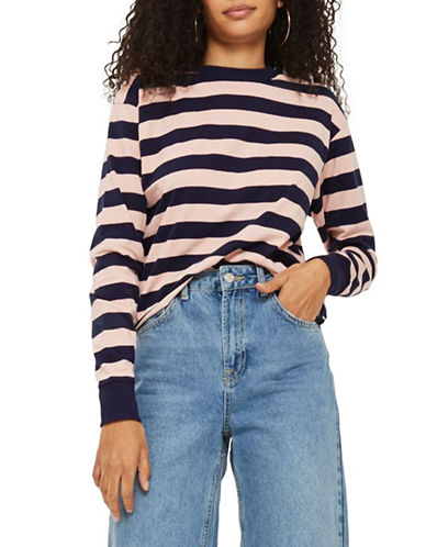 Topshop Bold Stripe Top-PINK-UK 8/US 4