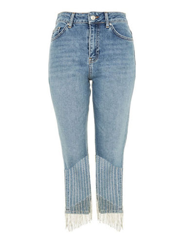 Topshop MOTO Dazzle Cropped Jeans 30-Inch Leg-BLEACH-26X30