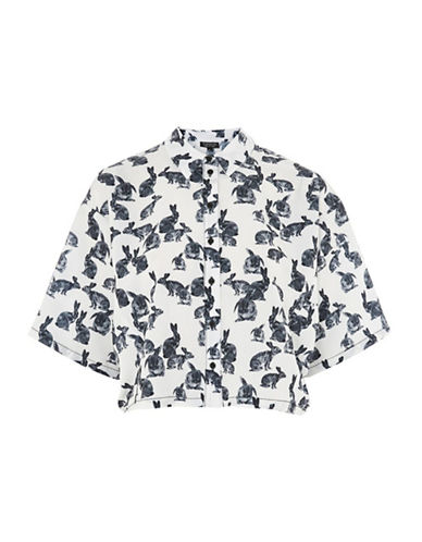 Topshop Bunny Print Short Sleeve Shirt-MONOCHROME-UK 8/US 4