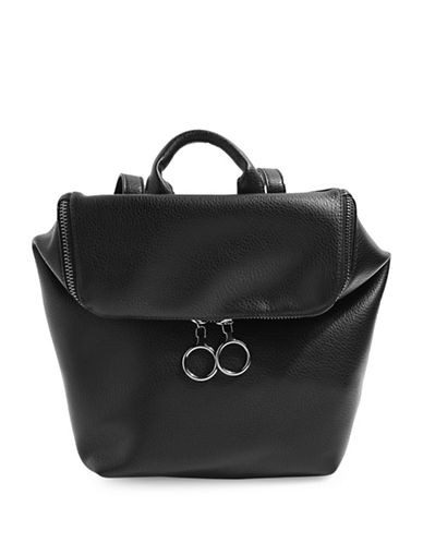 Topshop Bam Zip Backpack-BLACK-One Size