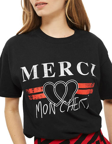 Topshop TALL Merci Graphic Tee-BLACK-Small