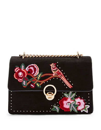 Topshop Embroidered Shoulder Bag-BLACK-One Size
