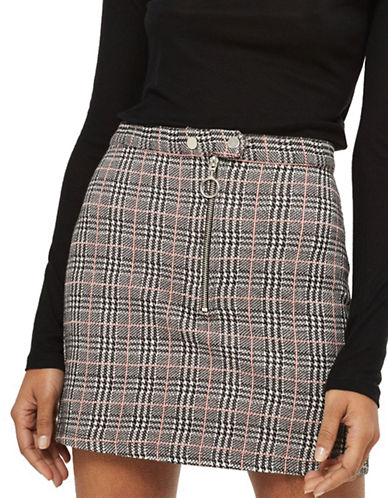 Topshop Check Mini Skirt-MONOCHROME-UK 10/US 6