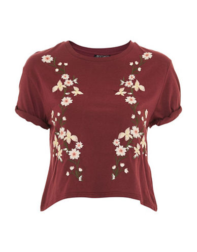 Topshop Embroidered Tee-BURGUNDY-UK 8/US 4