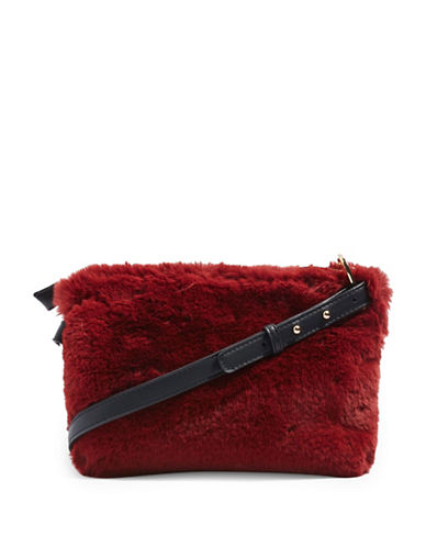 Topshop Rupert Faux Fur Crossbody Bag-RED-One Size