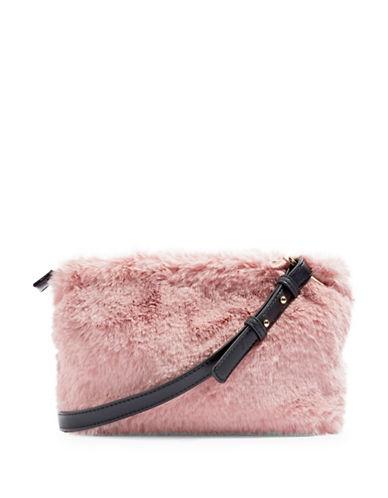 Topshop Rupert Faux Fur Crossbody Bag-PINK-One Size