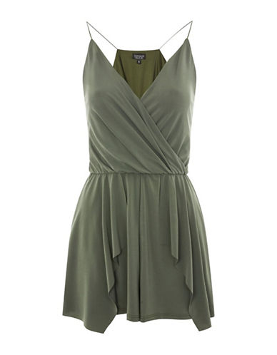 Topshop Hanky Hem Playsuit-KHAKI-UK 8/US 4