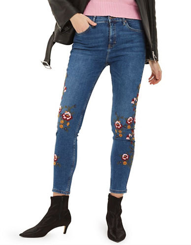 Topshop MOTO Ditsy Embellished Jeans 30-Inch Leg-MID DENIM-30X30