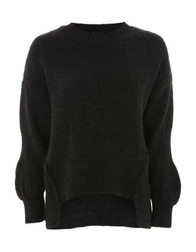 Topshop Ribbed Stretch Sweater-CHARCOAL-UK 6/US 2