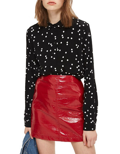 Topshop PETITE Spot Classic Shirt-BLACK-UK 4/US 0