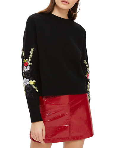 Topshop Ribbon Embroidered-BLACK-UK 10/US 6
