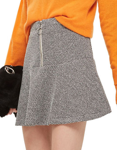 Topshop PETITE Salt-Pepper Peplum Hem Skirt-GREY-UK 6/US 2