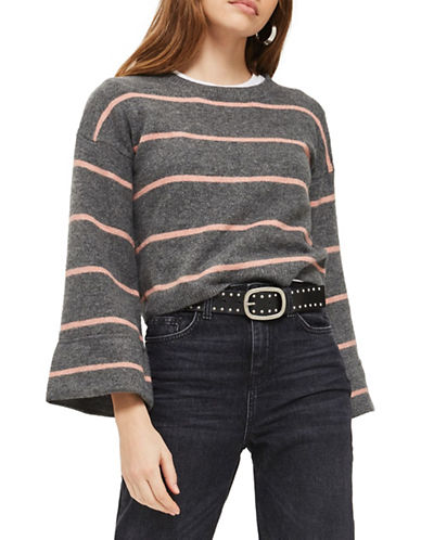 Topshop PETITE Stripe Sweater-CHARCOAL-UK 8/US 4