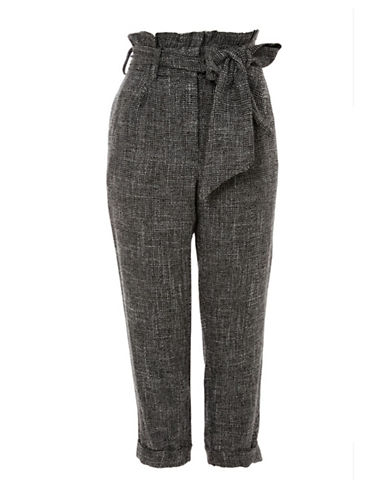 Topshop PETITE Check Belted Pants-BLACK-UK 8/US 4