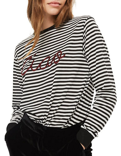 Topshop Ciao Embroidered Slogan Striped T-Shirt-MONOCHROME-UK 12/US 8