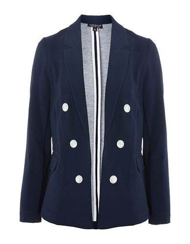 Topshop Bonded Jacket-NAVY-UK 12/US 8