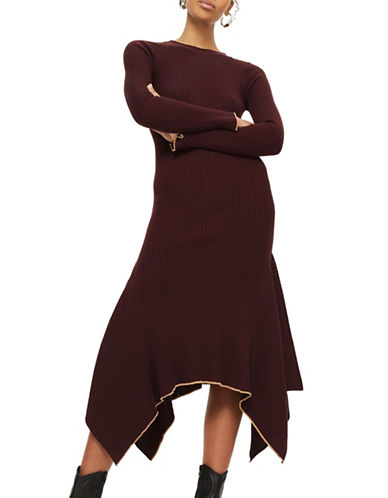 Topshop Asymmetric Hem Dress-BURGUNDY-UK 8/US 4