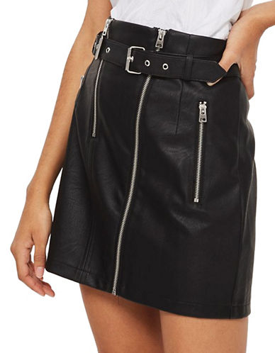 Topshop Faux Leather Mini Skirt-BLACK-UK 6/US 2