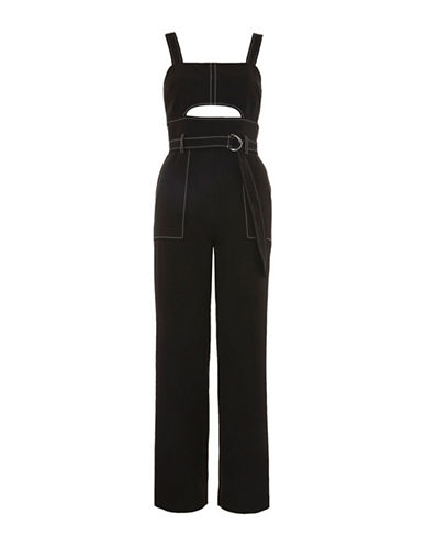 Topshop Topstitch Belted Jumpsuit-BLACK-UK 8/US 4