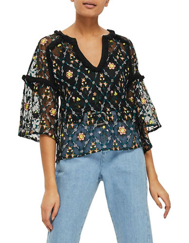 Topshop Metallic Floral Top-BLACK-UK 6/US 2