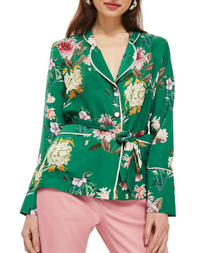 Topshop Floral Satin Pyjama Shirt-GREEN-UK 14/US 10