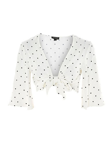 Topshop Spot Jacquard Knot-Front Top-IVORY-UK 12/US 8