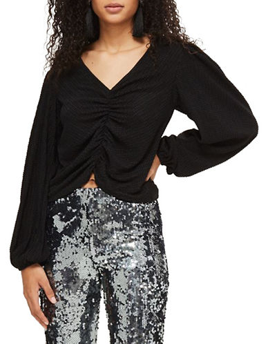 Topshop Ruched Front Blouson Blouse-BLACK-UK 6/US 2