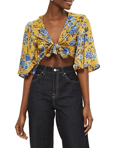 Topshop Floral-Printed Front Knot Top-MUSTARD-UK 10/US 6