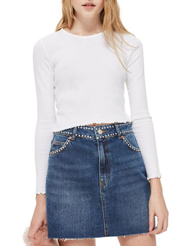 Topshop PETITE Lettuce Hem Crop Top-WHITE-UK 6/US 2