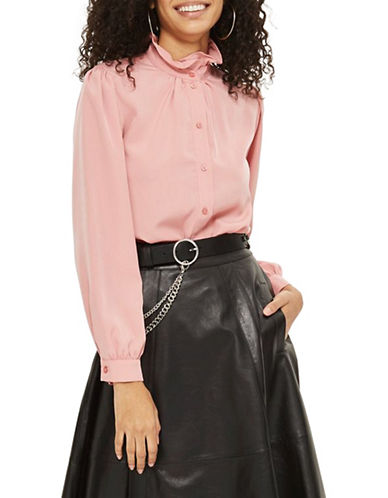 Topshop Frill Collar Shirt-PINK-UK 6/US 2