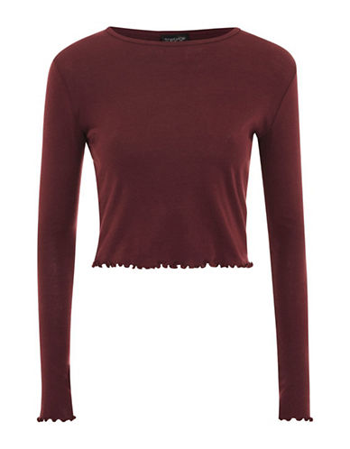 Topshop PETITE Lettuce Hem Crop Top-BURGUNDY-UK 10/US 6