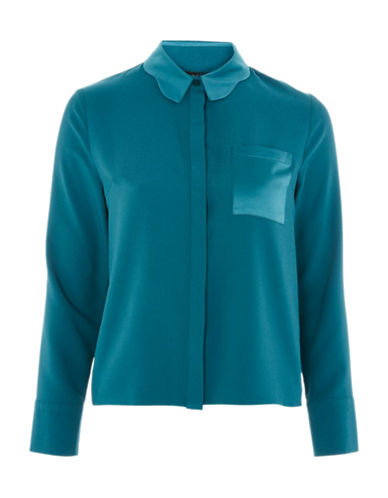 Topshop Scallop Collar Blouse-TEAL-UK 12/US 8