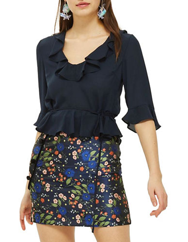 Topshop Ruffle Detail Blouse-NAVY BLUE-UK 6/US 2
