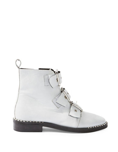Topshop Alfie Leather Buckle Boots-WHITE-EU 40/US 9.5