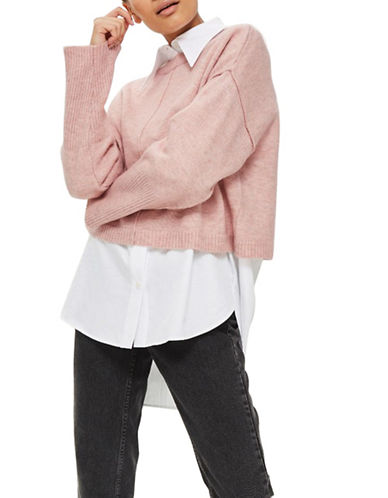 Topshop TALL Ribbed Cropped Sweater-PINK-UK 8/US 4