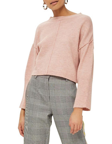 Topshop PETITE Ribbed Crop Sweater-PINK-UK 6/US 2