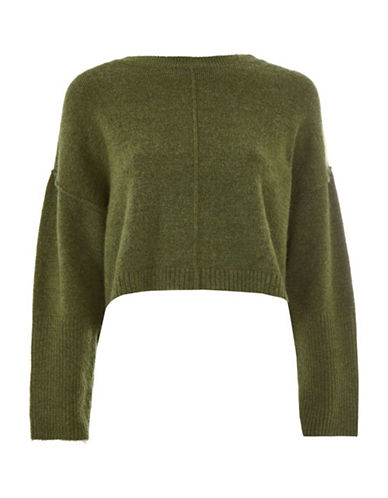Topshop PETITE Ribbed Crop Sweater-GREEN-UK 10/US 6