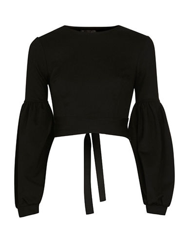 Topshop Open-Back Balloon Crop Top-BLACK-UK 12/US 8