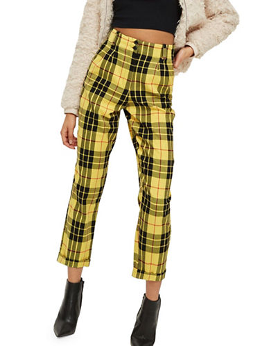 Topshop Tartan Trousers-YELLOW-UK 6/US 2