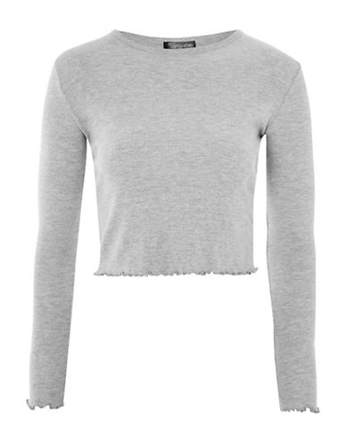Topshop TALL Lettuce Cropped T-Shirt-GREY-UK 10/US 6
