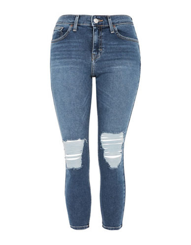 Topshop PETITE Ripped Jamie Jeans 28-Inch Leg-MID DENIM-25X28