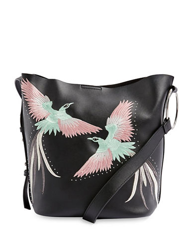 Topshop Rebecca Embroidered Shoulder Bag-BLACK-One Size