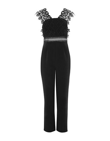 Topshop Lace Strap Jumpsuit-BLACK-UK 8/US 4