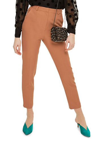 Topshop Cropped Cigarette Trousers-NUDE-UK 8/US 4