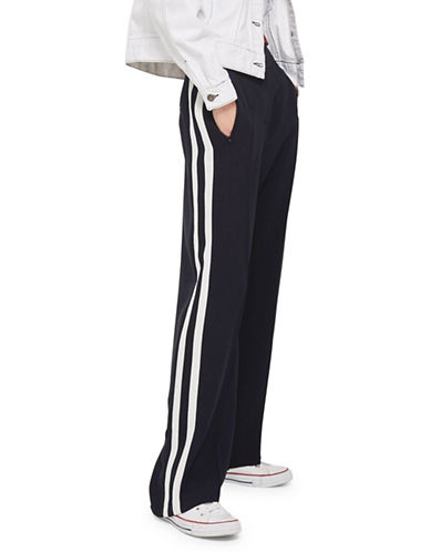 Topshop Side Stripe Slouch Trousers-BLUE-UK 12/US 8