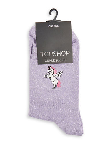 Topshop Embroidered Flying Unicorn Socks-LILAC-1