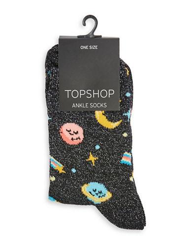 Topshop Glitter Moon and Stars Socks-BLACK-1