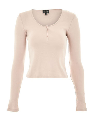 Topshop Long-Sleeve Button Front Top-BLUSH-UK 14/US 10